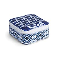 DEMDACO シボリ パターン インディゴ ブルー 4 x 4 フェイクレザーとナイロン ジュエリーボックスケース