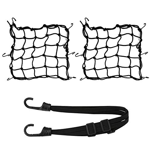 ツーリングネット 荷物固定 バイクネット 自転車用ネット フック付き ブラック40cm*40cm (3個セット)