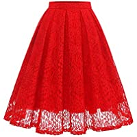 Girstunm Women High Waist Pleated A-Line Knee Length Lace Pockets Skirt