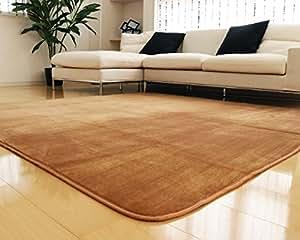 ラグ 洗える 200×250 ラグマット 滑り止め付 マット ラグカーペット 冬 カーペット ホットカーペット対応 フランネル 長方形 四角 絨毯 リビング 床暖房対応 マイクロファイバー Lサイズ (L無地・モカ)