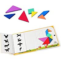 sealen Tangramゲーム旅行ゲームパズルBook動物人オブジェクト構築360質問で7単純なカラフルな形状、子供、大人用Challenge IQ教育Book