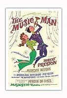 ミュージックマン - 出演:ロバート・プレストン - マジェスティックシアター、ブロードウェイ - ビンテージな劇場のポスター によって作成された デイヴィッド・クライン c.1957 - アートポスター - 76cm x 112cm