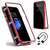 クリアSamsung Galaxy S9 Plusケース、SevenPanda Samsung S9 Plus スリムフレーム[磁気吸着]金属バンパーケース強化ガラスバックカバー[磁気吸着技術]内蔵マグネットフリップカバー - 透明+レッド