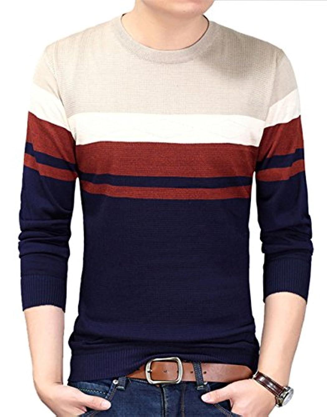供給見分ける熱狂的なZUOMA若い男性スリムプルオーバーのセーターニットVネックセーターシャツ、薄い男性モデルを底