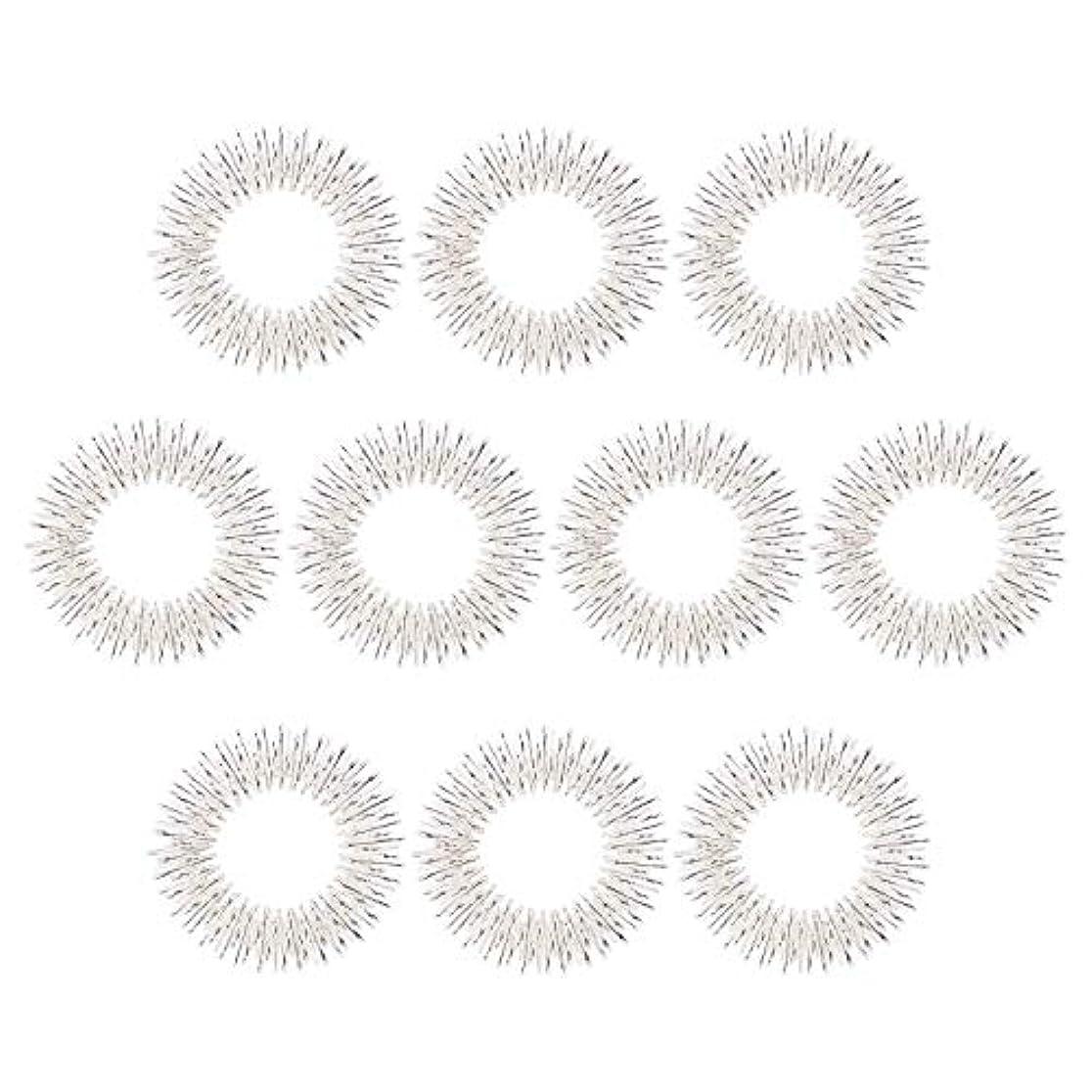 マッサージリング 10個入り 指マッサージ リング 鍼リング ヘルス ケア 疼痛 治療 (10枚 シルバー)