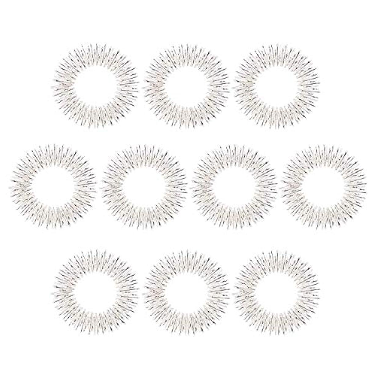 モロニックウィスキーマッサージリング 10個入り 指マッサージ リング 鍼リング ヘルス ケア 疼痛 治療 (10枚 シルバー)
