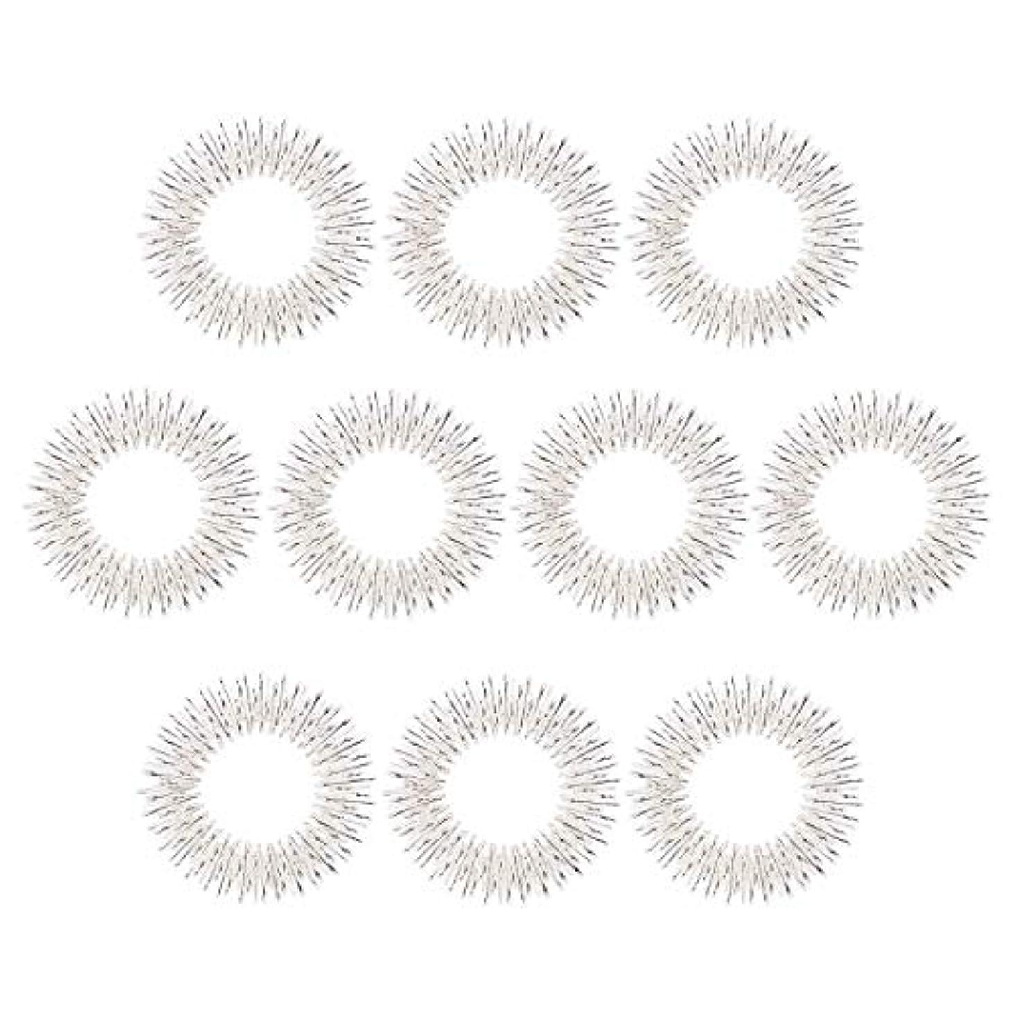 封筒のヒープ膨張するマッサージリング 10個入り 指マッサージ リング 鍼リング ヘルス ケア 疼痛 治療 (10枚 シルバー)
