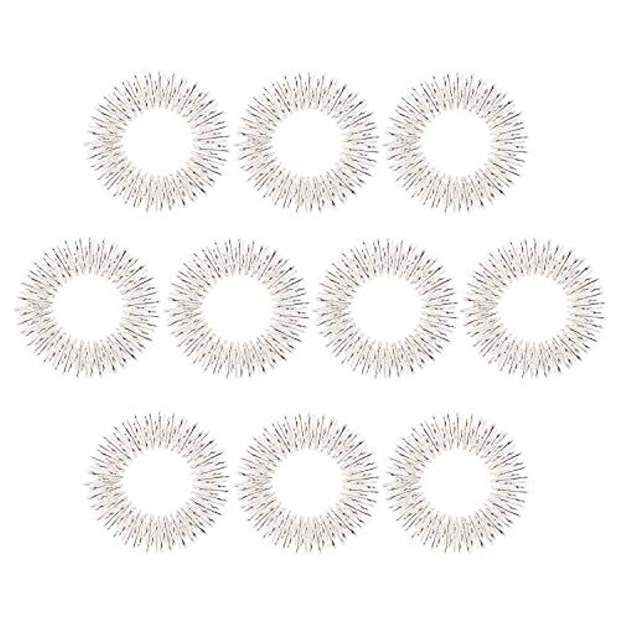 徹底的にポインタ皮マッサージリング 10個入り 指マッサージ リング 鍼リング ヘルス ケア 疼痛 治療 (10枚 シルバー)