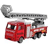 Inkach 建設車両 モデル 摩擦式 消防車 トラック はしご 水ポンプホース トラック エンジニアリングトイ One Size マルチカラー IN-1