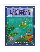 カリブ海 - ユナイテッド航空 - ビンテージな航空会社のポスター によって作成された メリザンド・ポッター c.2004 - アートポスター - 51cm x 66cm