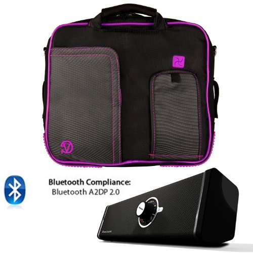 PINDAR Nylon Messenger Shoulder Carrying Bag (Purple-Trim) For ACER A200 A211 A210 A500 A501 A510 A700 ICONIA W500 Tablet + Bluetooth Speaker [並行輸入品]