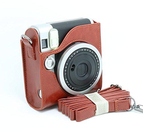 CAIUL FUJIFILM インスタントカメラ チェキ instax mini 90 専用ケース チェキ instax mini 90カメラケース(ブラウン1)