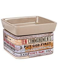 Ten Commandments Pallet Wood Lookセラミックストーン2イン1 Jar Candle andワックスTart Oil Warmer
