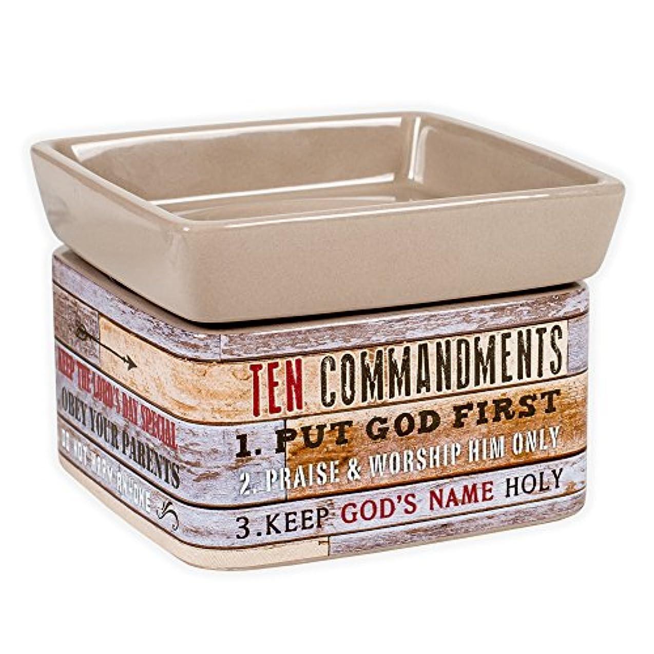 教義バイアス容量Ten Commandments Pallet Wood Lookセラミックストーン2イン1 Jar Candle andワックスTart Oil Warmer