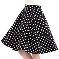 FiftiesChic 100% Cotton Polka Dot Floral 50s Vintage Retro Swing Full Circle Skirt