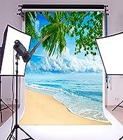 lfeey海写真背景3x 5ft水とHeaven Palm Tree Seaレベルホワイトクラウドアウトドア画像Lovers大人用芸術的肖像写真の撮影小道具ビデオドレープ壁紙