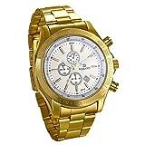 JewelryWe ビジネス&カジュアル メンズ 腕時計 高級感 金色時計 アナログ 日付表示 クオーツウオッチ 通勤&通学 彼氏のプレゼント ゴールド
