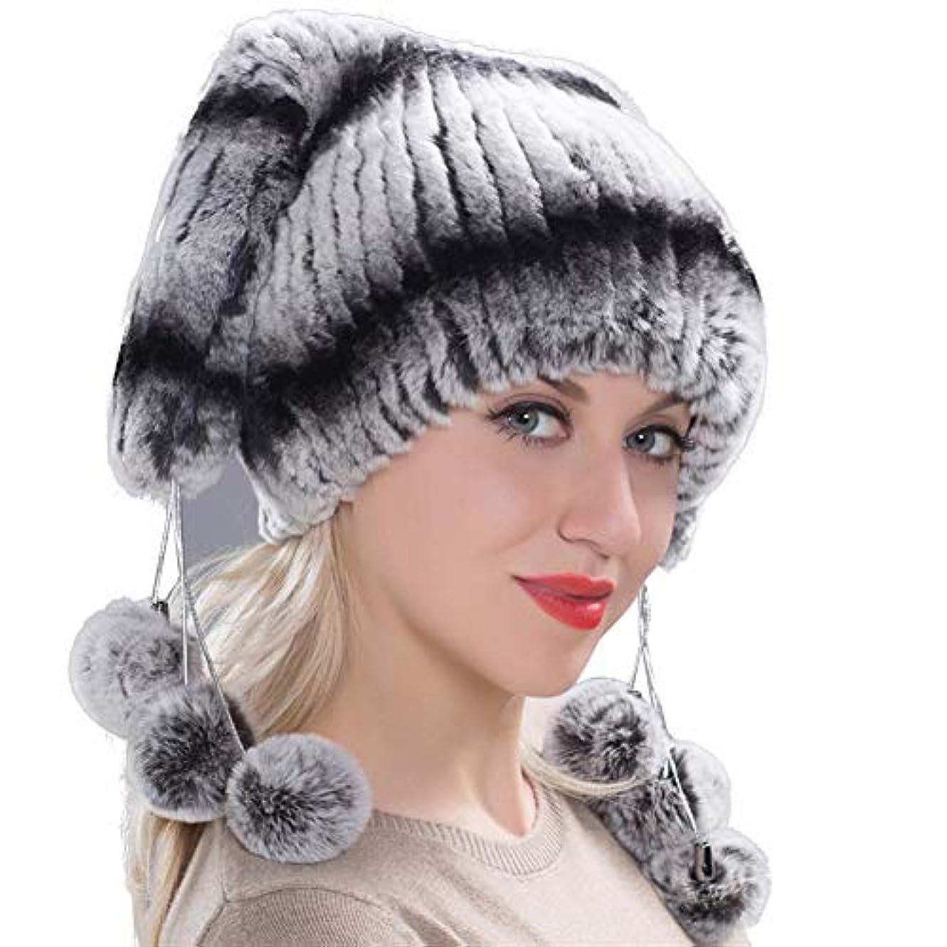 穀物黙暴動ACAO さんレックスウールの冬厚く暖かい帽子ニット毛皮さんレックスウールニット帽耳包頭 (色 : Cyan blue, Size : L)