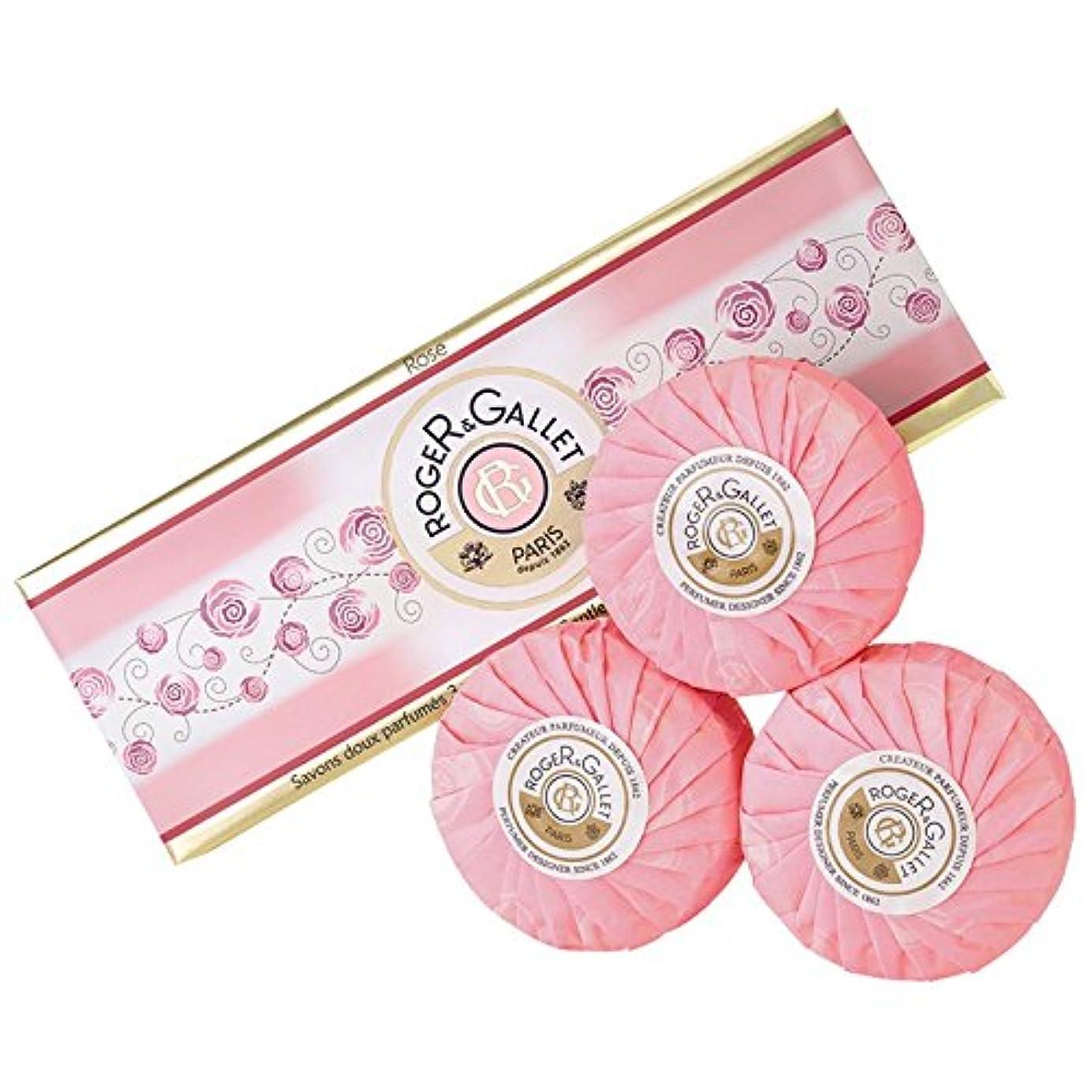 大佐フロンティアミンチロジャー&Galletのは石鹸コフレ3つのX 100グラムをバラ (Roger & Gallet) (x6) - Roger & Gallet Rose Soap Coffret 3 x 100g (Pack of 6)...