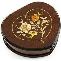 エレガントな木製トーンハート型音楽ジュエリーボックスwith Floral inハートフレームInlayデザイン 0-Choose Songs-0 MBA22HEARTNO