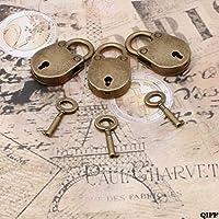 ヴィンテージ古いアンティークスタイルミニ古風南京錠キーロックキー (ロットの 3) mar28