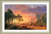 "Alonlineアート–Oregon Trail Albert Bierstadt Framedのコットンキャンバスホーム装飾壁アート博物館品質フレームをハングアップする準備フレーム 23""x14"" - 59x36cm (Framed Cotton Canvas) VF-BDT103-FCC0F15-1P1A-23-14"