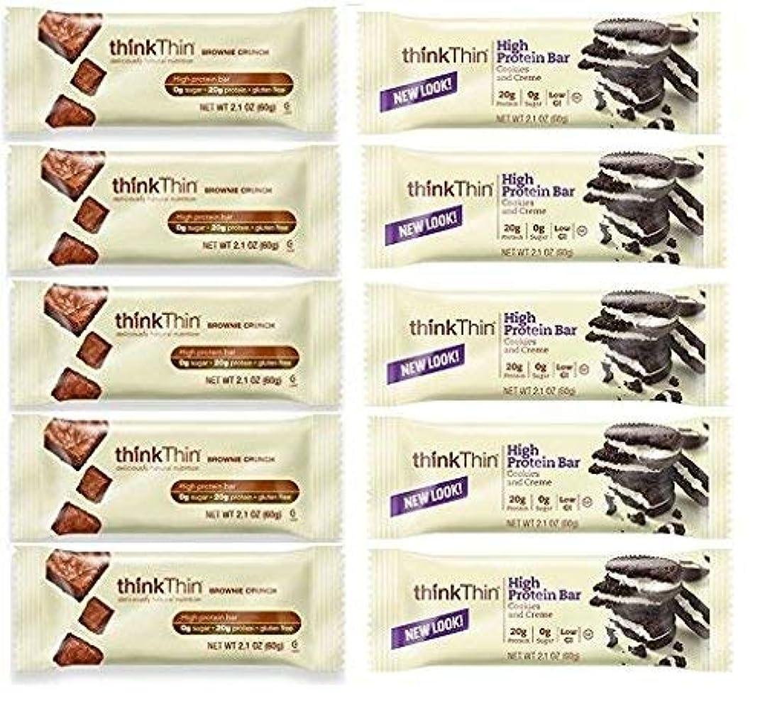 誰有能な群集thinkThin Cookies & Cream + Brownie Crunch (Pack of 10) [並行輸入品]