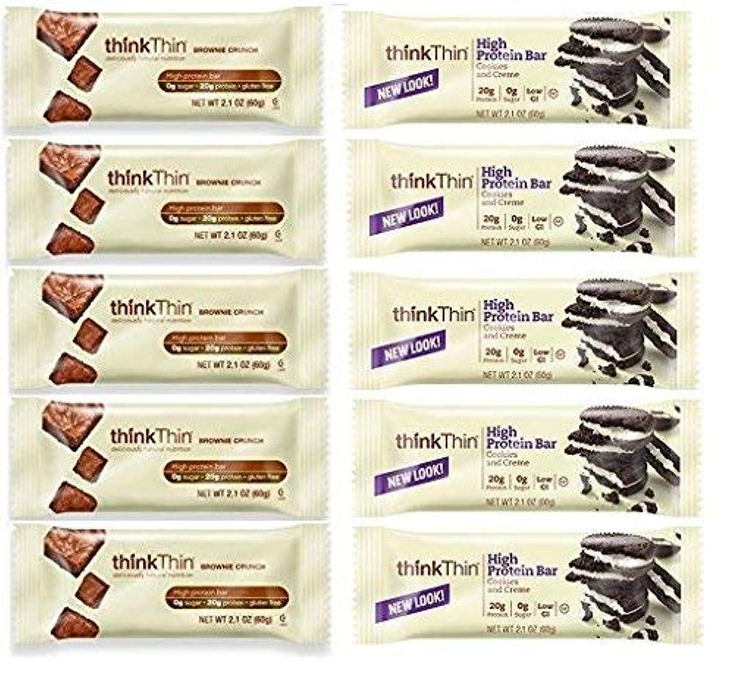 アルコール反対する戻るthinkThin Cookies & Cream + Brownie Crunch (Pack of 10) [並行輸入品]