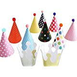 Wrapables Kids Mini-Sized Party Hats with Pom Poms and Crowns for Birthday Parties and Holidays