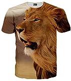 (ピゾフ)Pizoff メンズ 半袖 動物系 ライオン柄 立体 3D おしゃれ お揃い TシャツC7058-08-XXL