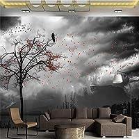 Xueshao カスタム壁紙手描きアート絵画抽象気分絵画花空オフィス壁防水素材-150X120Cm