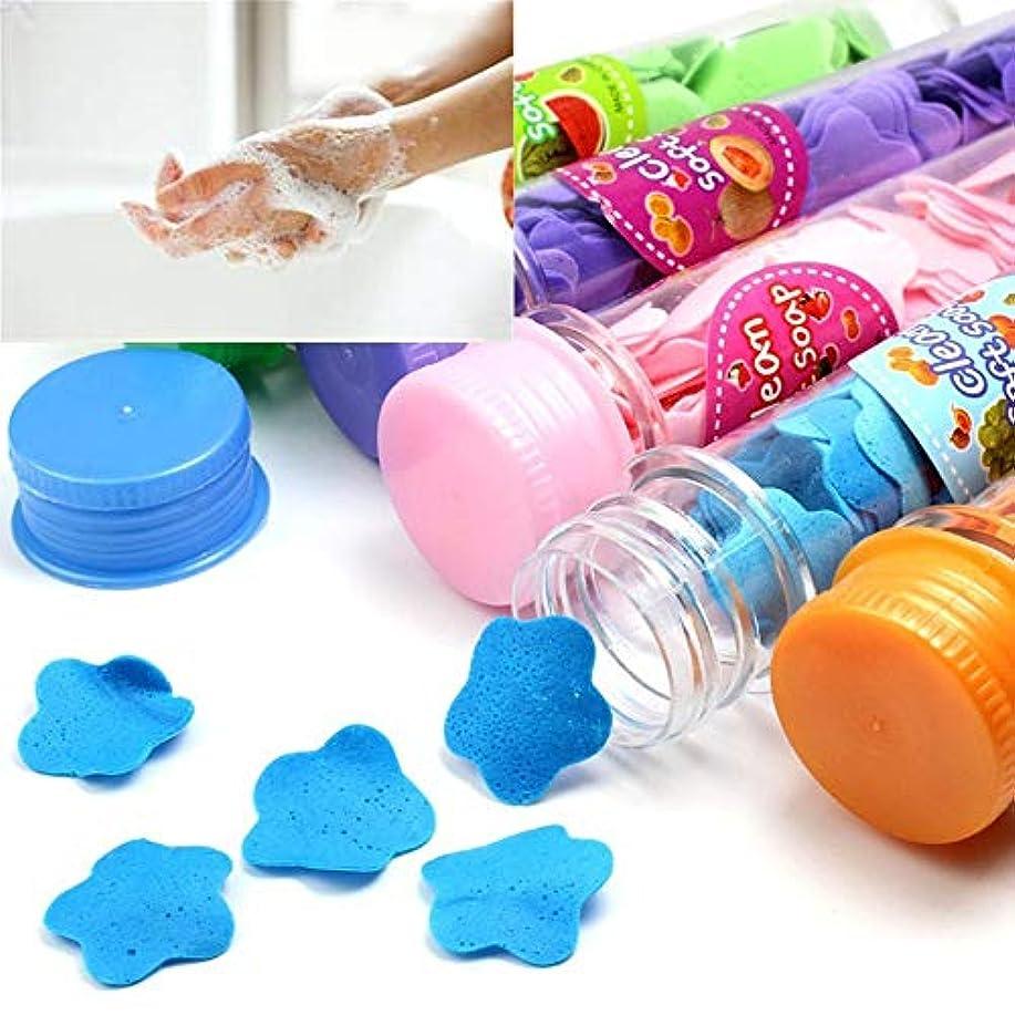 プレゼンタージャンピングジャックシエスタ1本旅行のポータブルハンドフラワーソープ手洗い小さなソープタブレットツーリズムエッセンシャルペーパーソープカラーランダム