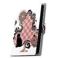igcase dtab d-01G Huawei ファーウェイ タブレット 手帳型 タブレットケース タブレットカバー カバー レザー ケース 手帳タイプ フリップ ダイアリー 二つ折り 直接貼り付けタイプ 007517 アニマル チェック 猫 ネコ 市松模様