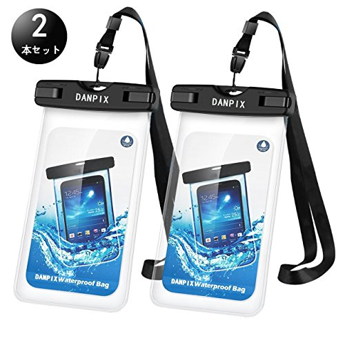 Danpix 防水携帯ケース (防水規格) 防水カバー 入れたままタッチ操作 指紋認証(iPhone 7以降の機種でロック解除可) 対応機種: iPhone, Samsung, Huawei, Sony その他6インチまでのスマートフォン 水中撮影 お風呂 海水浴 潜水 水泳 砂浜 水遊びなど適用