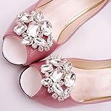 (FUMUD)2個入り キラキラ クリスタル ビジュー シューズクリップ ワンタッチ着脱 靴飾り 結婚式 シューアクセサリー