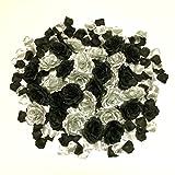バラ ブラック & シルバー 造花 10cm 30個 花びら 300枚 付き ハロウィン コスプレ パーティー 装飾 などに