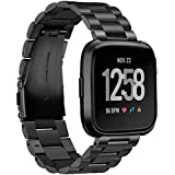 Kartice Compatible Fitbit Versa Watch Bands Metal, Kartice Stainless Steel Bracelet Accessory Replacement Strap Wristband Compatible Fitbit Versa Smartwatch (Black 1)