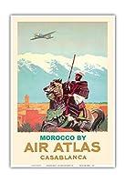 カサブランカ、モロッコ - エアアトラス - モロッコのライダー - ビンテージな航空会社のポスター によって作成された アルベール・ブルネ c.1950 - アートポスター - 33cm x 48cm