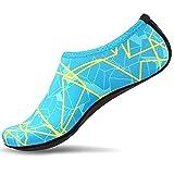 Meteor(メテオ) 男女兼用 マリンシューズ ウォーターシューズ 海水浴靴 アクアシューズ シュノーケリング ビーチサンダル 水陸両用 (L(23.5cm-25.0cm), 幾何学模様グリーン)