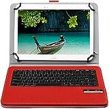 Bluetoothワイヤレスキーボード, キーボードケース,【ELTD】ipad pro 9.7/Teclast Tbook 10/Samsung Galaxy Tab A 10.1/huawei mediapad t2 10.0 pro/Qua tab 02 HWT31 10.1/Acer Iconia Tab10 A3-A40/ASUS ZenPad 10 2016ケース (9-10インチのタブレットも適用) 開閉で自動的 PUレザーケース マグネット着脱可能 一体型Bluetoothワイヤレスキーボード (9-10inch, レッド)