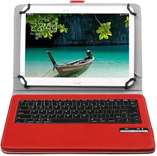 Bluetoothワイヤレスキーボード, キーボードケース,ELTDipad pro 9.7/Teclast Tbook 10/Samsung Galaxy Tab A 10.1/huawei mediapad t2 10.0 pro/Qua tab 02 HWT31 10.1/Acer Iconia Tab10 A3-A40/ASUS ZenPad 10 2016ケース (9-10インチのタブレットも適用) 開閉で自動的 PUレザーケース マグネット着脱可能 一体型Bluetoothワイヤレスキーボード (9-10inch, レッド)