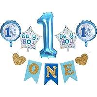 Funpa 風船 バルーン 5個セット 1歳 100日 誕生日 お祝い 記念日 パーティー 装飾 アクセサリー 掛け飾り ガーランド スター形 数字 アルミ箔 可愛い 2色選択 76cm (ブルー)
