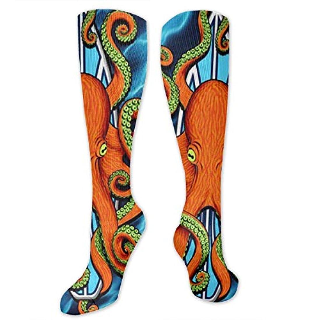 呼び起こす日常的に参照する靴下,ストッキング,野生のジョーカー,実際,秋の本質,冬必須,サマーウェア&RBXAA Octopus Surfboard Socks Women's Winter Cotton Long Tube Socks Knee...