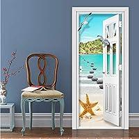 Xbwy 写真の壁紙現代の海辺の風景壁画リビングルームの寝室の家の装飾のドアのステッカーPvc自己接着防水3D壁画-200X140Cm