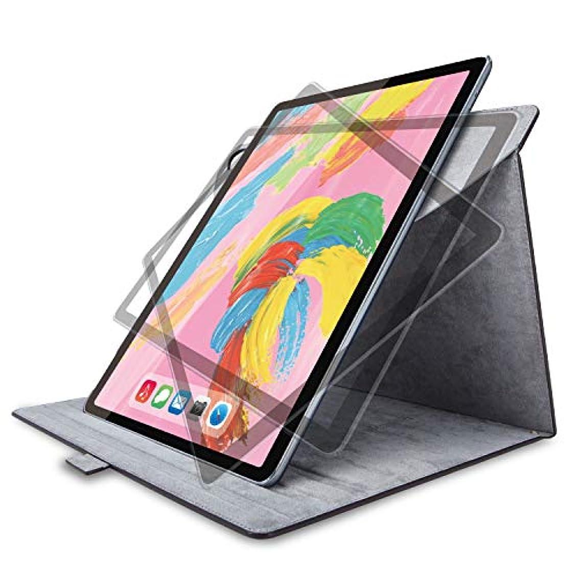 召集する送信する素晴らしきエレコム iPad Pro 12.9インチ (新iPad Pro 2018年モデル) フラップカバー ソフトレザー 360度回転 ブラック TB-A18L360BK