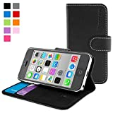 英国Snugg iPhone 5C用 PUレザー 手帳型 ケース カバー 生涯補償付き(ブラック)
