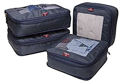 Compression Packing Cube Set By TravelBosca   4 Piece Luggage Cubes for Organized Travel   2 Large 2 Medium Cubes