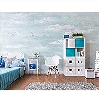 Ansyny 3D抽象的な手描きのアートの壁の壁画の壁紙の壁青い空と白い雲のステッカーソファの装飾のための壁紙-160X120CM