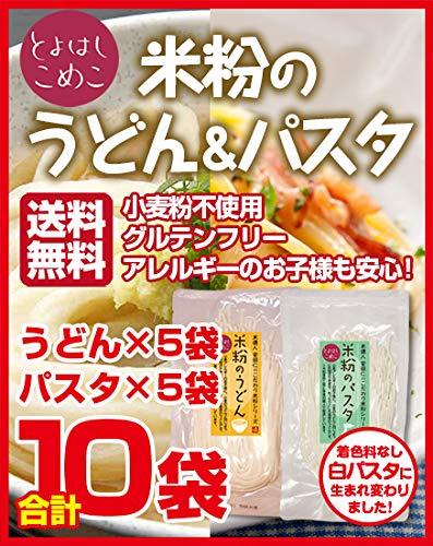 とよはしこめこ 米粉のうどん(5袋)&パスタ(5袋) セット グルテンフリー・小麦粉フリー・アルミフリー 128g×10袋