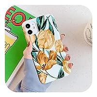 美しい押し花電話ケースiphone 11プロマックスXR XSマックス7 8 6 6 sプラスX光沢のあるソフトIMD花の裏表紙-b-For iPhone 6Plus 6SP